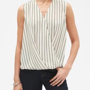 ☀️ Stripe Faux Wrap Sleeveless Blouse - BR Factory